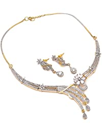 Geode Delight Gold Plated American Diamond Cz Necklace Set For Women