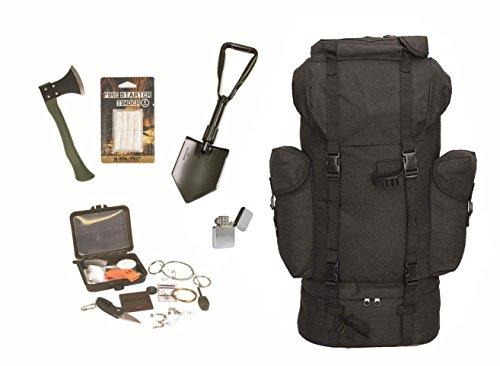 Survival Set BW Bundeswehr schwarz Kampfrucksack + Spaten + Beil + Survival Box usw.