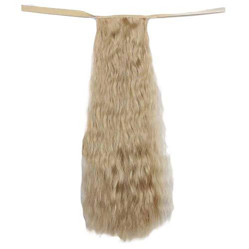 Pelo rubio Peluca 50 cm de pelo largo rizado peluca sintética pelo de la extensión del pelo cola de