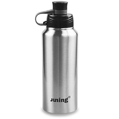 juning Bouteille d'eau Sports Bouteille isotherme 900ml Bouteille en acier inoxydable isolée, Steel Color