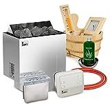 Elektrische Saunaofen Sawo Nordex Plus 8kW mit Saunasteuerung Sawo A1 zusammen mit 20kg Steinen und Sauna Zubehör Set