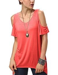Urbancoco Damen Vogue Schulterfrei unregelmäßige sidetale Tunika Top Shirt