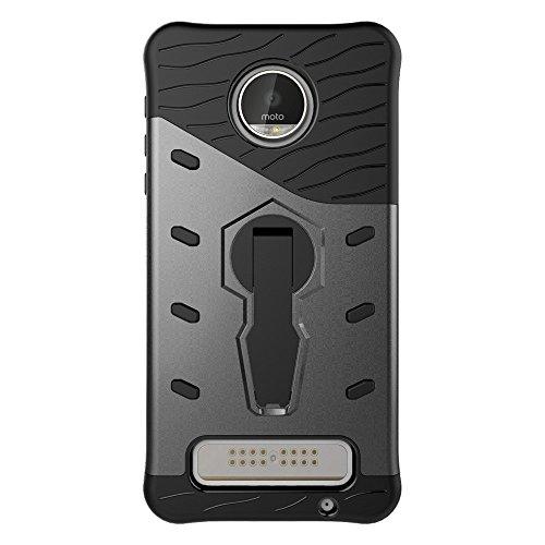 Für Moto Z Spieltasche Neue Rüstung Tough Style Hybrid Dual Layer Rüstung Defender Soft TPU / PC Rückseiten Fall Fall Mit 360 ° Stand [Shockproof Case] ( Color : Black ) Black