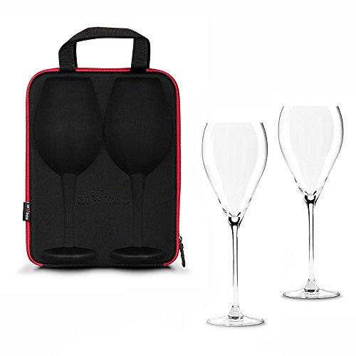 Monsterzeug Weingläser in Tasche, Etui mit Zwei Gläsern, Rotwein, Picknick - Tasche 25 x 32 cm