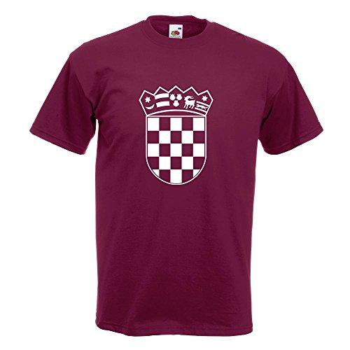 KIWISTAR - Flagge Kroatien Wappen T-Shirt in 15 verschiedenen Farben - Herren Funshirt bedruckt Design Sprüche Spruch Motive Oberteil Baumwolle Print Größe S M L XL XXL Burgund
