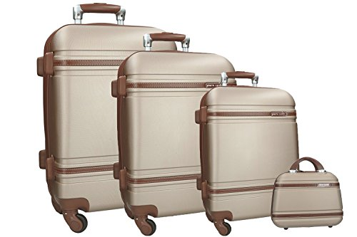 3 Maletas rígidas + beauty oro PIERRE CARDIN cabina para viajes VS168
