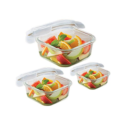 Borosil Microwavable Klip   N   Store Square Dish with Lid   Set of 3  800, 520, 320 ml