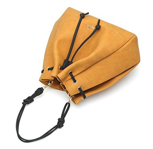 772f90eba88cc ... Kadell Drawstring PU Leder Eimer Tasche Einkaufstasche Satchel Handtasche  Umhängetasche Schwarz Gelb