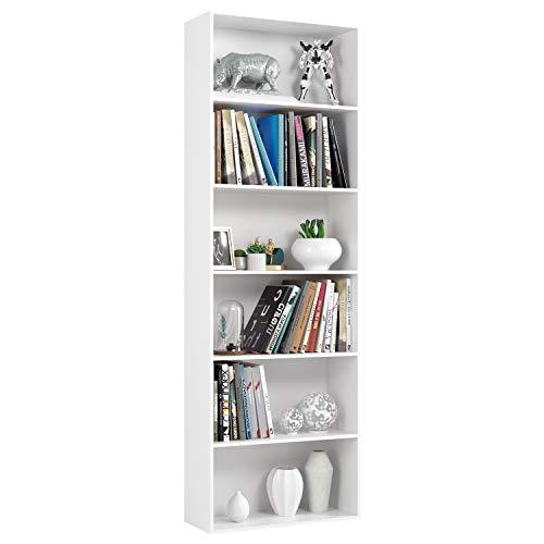 Homfa Estantería 6 Cubos Librerías para Libros CDs DVDs Estantería de Pared 60 x 23.5 x 180cm (Blanco)
