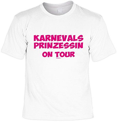 Fasching T-Shirt Karnevalsprinzessin on Tour Karneval Fastnacht Fun Shirt geil bedruckt Weiß