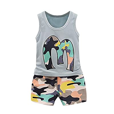 FeiliandaJJ Baby Boys Clothes Set, 2pcs Kids Toddler Boy Cute Summer Sleeveless Camouflage Tanks T-Shirt Tops Shorts Pants Outfits Set : everything five pounds (or less!)