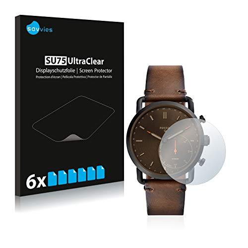 Savvies Schutzfolie kompatibel mit Fossil Q Commuter [6er Pack] - klarer Bildschirmschutz