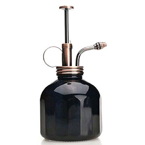 Purismus-Stil Plant Mister - Schwarze Farbe  Glasflasche & Messing-Sprayer (Antik Kupfer Farbe)