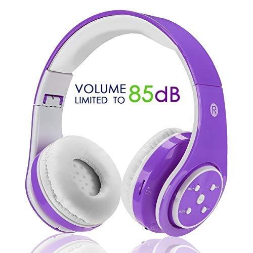 Kabellose Bluetooth Faltbare Kopfhörer für Kinder Jugendliche Leicht Tragbare Headset Lila