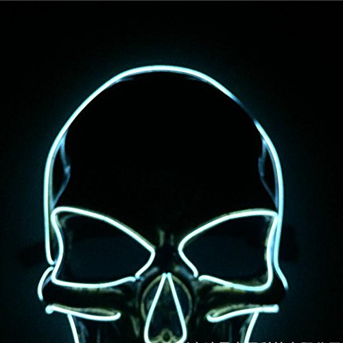 ZQWJ Halloween Skeleton Modell LED Licht Maske EL Kaltlicht Geist Festival Make-up Maske DJ Party Coole Weihnachten Cosplay Dance Party Maske,Silver