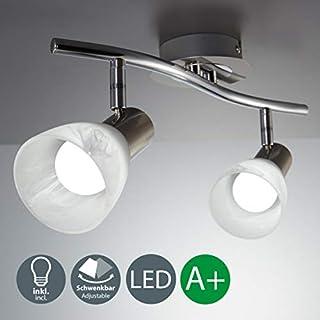 B.K.Licht LED Ceiling Light for Living Room, Bedroom & Dining Room I Rotatable and Pivotable Spotlight I Warm White I Modern, Curved Design I Chrome Look I 2 x 5W Illuminant I 230 V I E14 I IP20