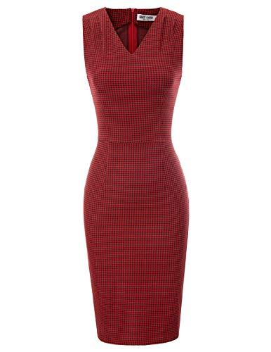 GRACE KARIN Rockabilly Kleid Weihnachten Bodycon Kleid Winter Business Kleider Damen CL105-2 M (Für Weihnachten Kleider Damen)