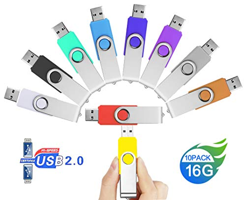10 Piezas Pendrive 16GB Colores – JUYUKEJI Pack 10 Originales Pen Drive Memoria USB Flash Drive 16 GB
