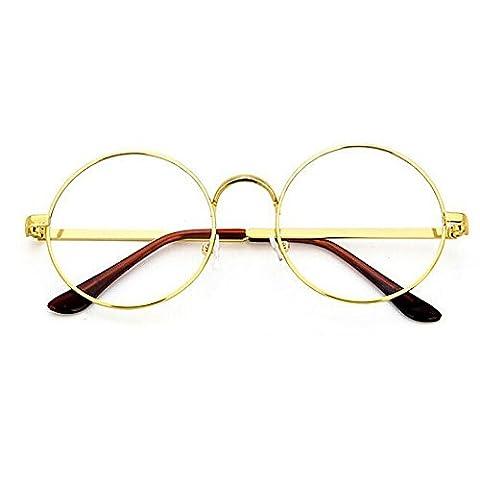 TININNA Unisexe Rétro Rondes Metalique Cadre Frame Lunettes Vintage Verres Transparent Style Aviateur Pilote Eyeglasses pour Homme et Femme Adultes Or