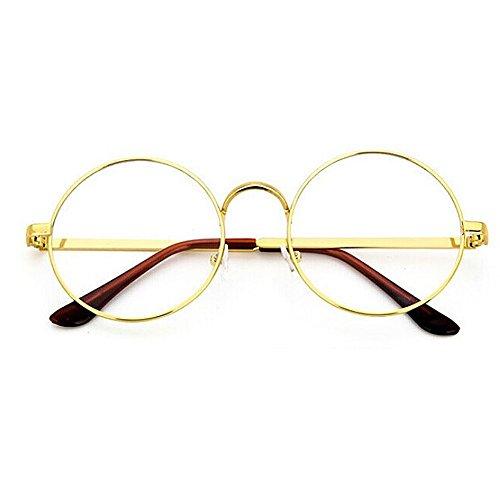 TININNA Unisex Retro Runde Metall klare Linse Brille Mit Fensterglas Damen Herren Brillenfassung,Dekogläser Klassisches Rund Rahmen Golden Muster Bein Mode Brillen (Gold) EINWEG Verpackung