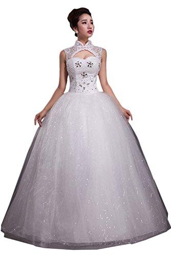 TOSKANA BRAUT Glamour Neu Spitze Strass Weiss Abendkleider Lang Ballkleid Hochzeitskleider Stil-N