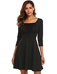 07ccd5ba1ce8 Chigant Damen A Linie Kleid Elegant 3 4 Ärmel Minikleid Partykleid Festlich  Abendkleid Cocktailkleid mit