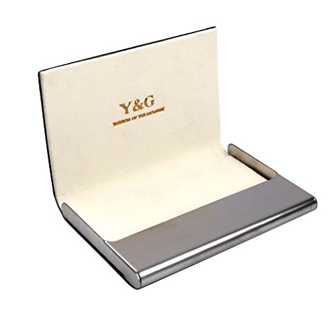 CC1001 Beige Business Card Holder Black Leather Card Case Shandmade