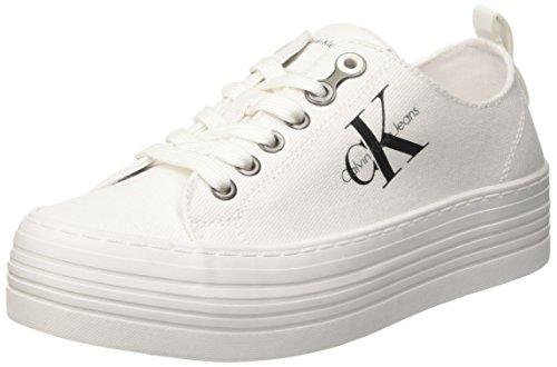Calvin Klein Jeans Damen ZOLAH Canvas Sneaker, Elfenbein (White R0673Wht), 39 EU