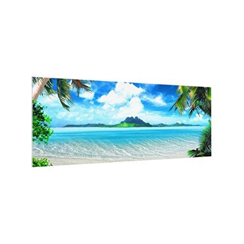 Bilderwelten Panel antisalpicaduras de cristal - Dream Vacation - Panorámico, panel antisalpicaduras panel de vidrio para cocina panel protector contra salpicaduras, Tamaño: 50cm x 125cm