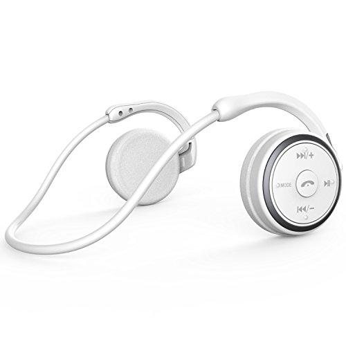 Auriculares Bluetooth Correr Inalámbricos Deportivos,LinkWitz Cascos con Sonido Hi-Fi Estéreo Compatible con Iphone, Ipad, Samsung, Blackberry y Otros Smartphone(Blanco)