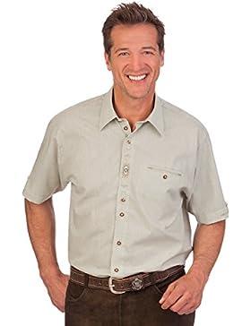 H1420 - Trachten Herren Hemd mit 1/2 Arm - hellgrün, weiß