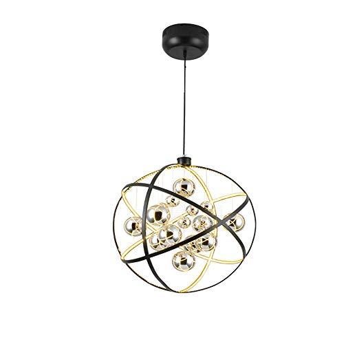 PLXT Nordic Post-Modern Eisen Glas Kronleuchter Pendelleuchten Kreative LED Globus Metall Restaurant Droplight Mode Kunst Esszimmer Bar Wohnzimmer Deckenleuchte (Metall-globus, Kunst)