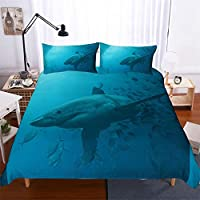 YYHQHE 3D Bedding Set Shark Print Duvet Cover Set Lifelike Bedclothes with Pillowcase Bed Set Home Textiles (Color : #10, Size : Single-140×210cm)
