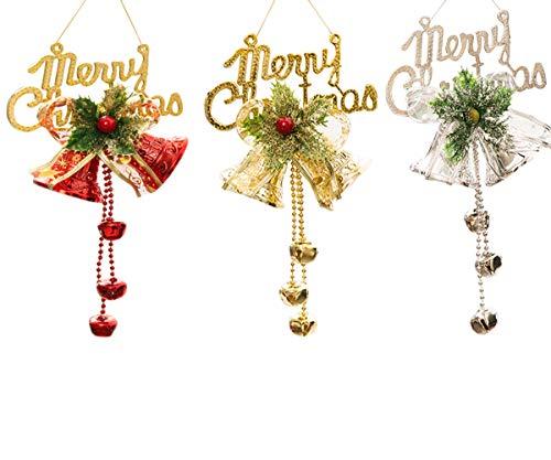 schmuck zum Aufhängen, Weihnachtsbaumschmuck, Weihnachtsmann, Elch, Glocken, Schneemann, Ornament-Set für Zuhause, Urlaub, Party Bells ()