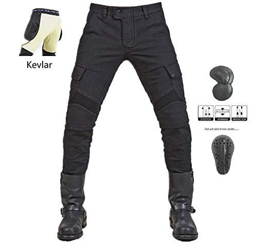 Vaqueros de moto para hombres - Kelvar - Protección Aramid Motocicleta Pantalones Biker Pants (Negro, L=32(90cm Waist))
