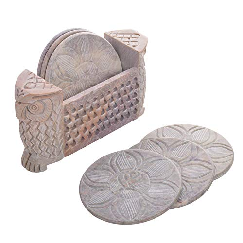 Store Indya, Set von 6 Dekorative Marmor Untersetzer Elegante Blumen Inlay Bar oder Speise Zubehor Geschenkideen zum Geburtstag