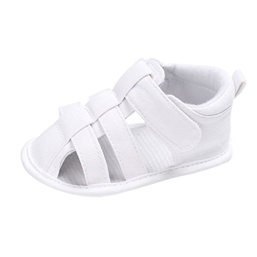 MiyaSudy Kinder Baby Jungen Schuhe Sommer Outdoor Klettverschluss Canvas Sandalen Erste Wanderer 0-18 Monate Weiß