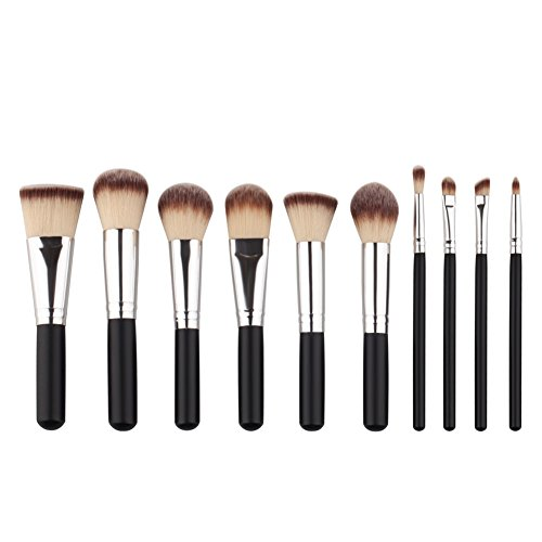 Weisy 10 Pcs Make up Pinsel Kit Eye Shadow Pinsel Drei-Farben-Haare Gesicht Make-up Pinsel Set (Make Up Gesichts Haar)