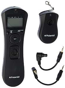 Polaroid déclencheur à distance ans fil avec minuteur d'intervalle. Comprend un récepteur, un émetteur portatif avec affichage rétroéclairé et un câble de connexion – L'émetteur permet de changer de mode de shooting sans avoir besoin d'ajuster les réglages de l'appareil – Fonctionne avec piles (inclues) pour appareils Canon T5i, T4i,T3, T3i, T1i, T2i, XS, XS, XTI, XT, 70D, 60D, G16, G15, G12, G11, G10, G1X, 7D, 7D Mark II, 6D, 50D, 40D, 30D, 5D, 5D Mark III, II, 1D X, 1D C, 1D Mark SLR