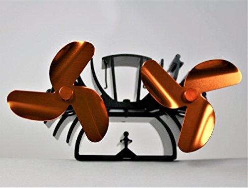 HeuSa Tech Ventilator für Kaminöfen, Ofenventilator, Kaminventilator, goldfarben, 6 Rotorblätter, 13 cm umweltfreundlich- stromlos Doppelventilator mit Tragegriff