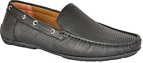 Mens slip on shoes smart driving Moccasin designer loafer fashion shoes. (12 UK, Black)