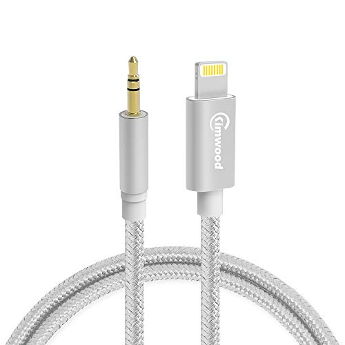 Auto AUX Kabel, Kimwood Aux Kabel auf 3,5mm Premium-Audio kompatibel mit iPad, iPod, iPhone8/8+/X/XS,Home/Auto-Stereoanlagen,Kopfhörer (Silber) Ipod Aux-kabel