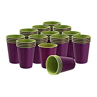 40 Pieces Drinking Cup Plastic cups 200 ml various cup two-colour Bicolor various colours W5 - violet-green, 200 ml