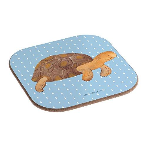 Mr. & Mrs. Panda Gläser, Geschenk, Quadratische Untersetzer Schildkröte marschiert - Farbe Blau Pastell