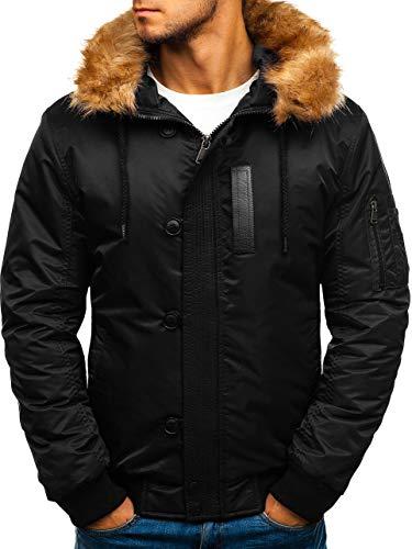 BOLF Herren Winterjacke Steppjacke Sportjacke Kapuze Fell Zip Casual Style Extreme 1826 Schwarz M [4D4] (Männer Fell Kapuze Jacke)