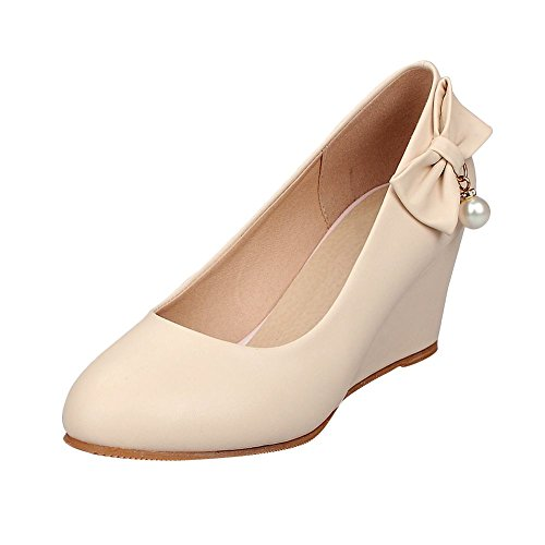 Mee Shoes Damen modern bequem Keilabsatz runder toe Geschlossen mit Schleife Pumps Aprikose