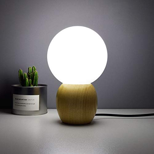 FGHHT Lampara de Mesa Lámpara nórdica de Bola de Cristal de Madera Maciza, lámpara de cabecera del Dormitorio, lámpara de Mesa LED para el Cuidado de los Ojos para niños