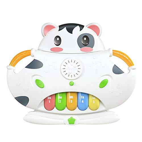 Combo-trommel (Kleinkind-Klaviertastatur-pädagogisches Säuglingsspielzeug-Tätigkeit, nette Kuh-Combo-Tastatur-Trommel musikalisches elektronisches lernendes Spielzeug für den Geburtstagsspaß, der Spiele spielt)