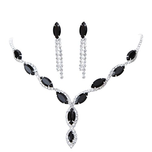 yazilind-jewelry-elegant-charm-bridal-black-crystal-silver-plated-rhinestone-necklace-set-for-weddin