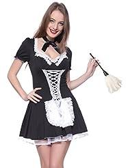 Sexy Dienstmaedchen Kostuem Minikleid Hausmaedchen Zimmermaedchen Zimmermaedel French Maid Gr.M L XL Fasching Karneval